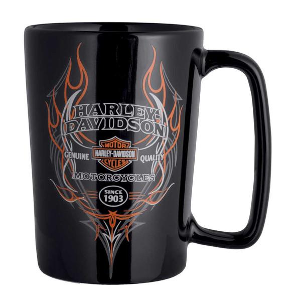 Harley-Davidson Pinstripe Flames Ceramic Coffee Mug, 16 oz. Black 99208-16V - Wisconsin Harley-Davidson