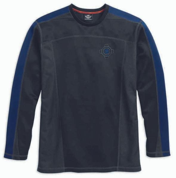 Harley-Davidson Men's Performance Crew Neck Shirt, Black/Blue. 96049-16VM - Wisconsin Harley-Davidson