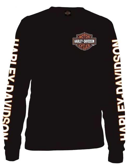 Harley-Davidson Men's Long Sleeve Orange Bar & Shield Black Shirt 30291744 - Wisconsin Harley-Davidson