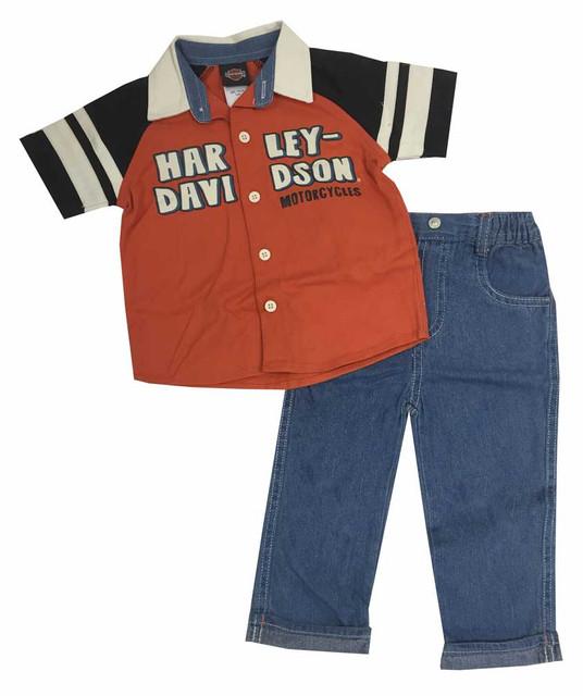 Harley-Davidson Baby Boys' Denim Pant - Shirt Set, Denim/Orange/Black. 2071553 - Wisconsin Harley-Davidson