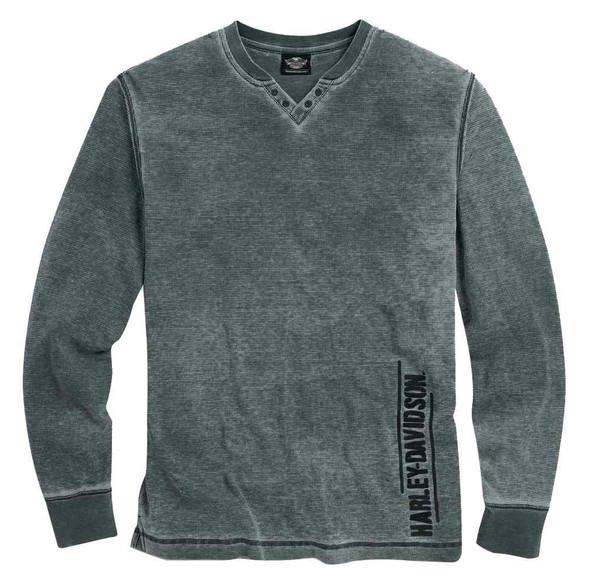 Harley-Davidson Men's Washed V-Neck Waffle Knit Shirt, Asphalt Gray 96096-16VM - Wisconsin Harley-Davidson