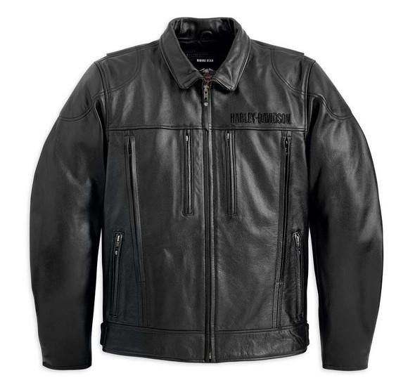 Harley-Davidson Men's Stone Leather Jacket Black 98037-12VM - Wisconsin Harley-Davidson