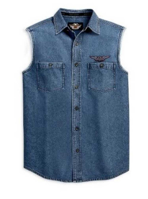 Harley-Davidson Men's Blowout Sleeveless Shirt, Button Up Denim 99009-11VM - Wisconsin Harley-Davidson
