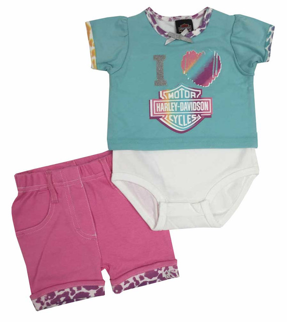 Harley-Davidson Baby Girls' Short Set with Creeper, Pink/Aqua/Pastel 2002507 - Wisconsin Harley-Davidson