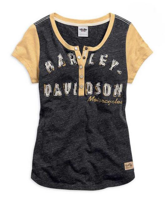 Harley-Davidson Womens Genuine Short Sleeve Knit Top Shirt Black/Gold 99127-15VW - Wisconsin Harley-Davidson