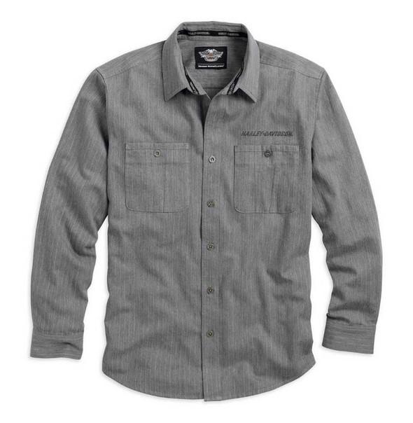 Harley-Davidson Men's Woven Shirt, H-D Embroidered Long Sleeve, Gray 96794-15VM - Wisconsin Harley-Davidson