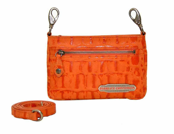 Harley Davidson Womens Orange Hammered Hip Bag Purse HC7988L-ORG - Wisconsin Harley-Davidson