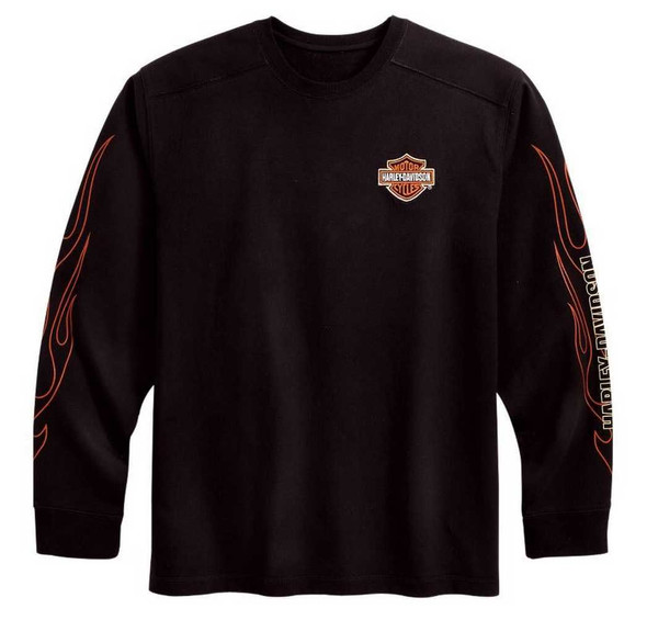 Harley-Davidson Men's Bar & Shield Flames Long Sleeve Tee Black 99042-09VM - Wisconsin Harley-Davidson