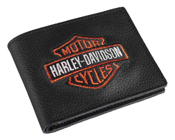 Harley-Davidson Men's Embroidered Bar & Shield Billfold Wallet, XML4336-ORGBLK - Wisconsin Harley-Davidson