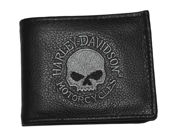 Harley-Davidson Men's Embroidered Skull Bi-Fold Wallet Black Leather FB808H-5G - Wisconsin Harley-Davidson