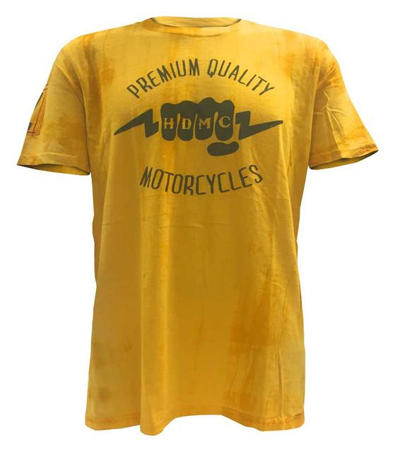 Harley-Davidson Men's Black Label Washed T-Shirt, HDMC Lightning Knuckles, Gold - Wisconsin Harley-Davidson