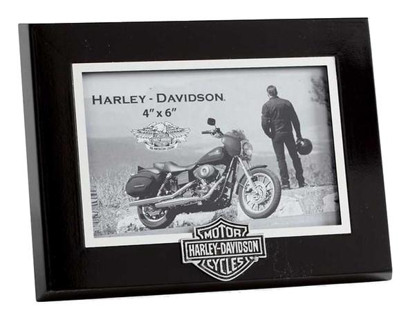 Harley-Davidson Bar & Shield Logo Picture Frame, Black Wood 4x6. 99294-06V - Wisconsin Harley-Davidson