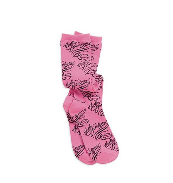 Harley-Davidson Womens Allover Logo Print Pink Label Socks Pink/Black 99505-15VW - Wisconsin Harley-Davidson