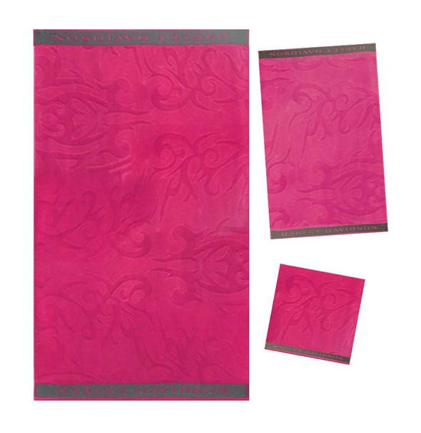 Harley-Davidson Pink Jacquard Towel Set w/ Embroidered Borders 57909 - Wisconsin Harley-Davidson