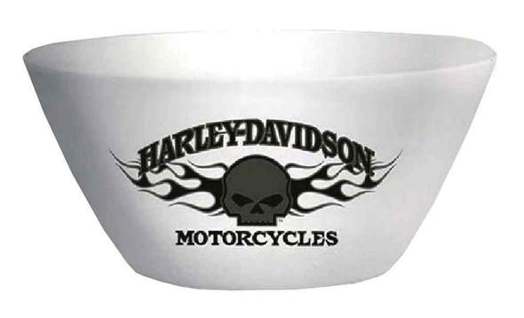 Harley-Davidson Flaming Willie G Skull Melamine Serving Bowl, White HD-HD-913 - Wisconsin Harley-Davidson