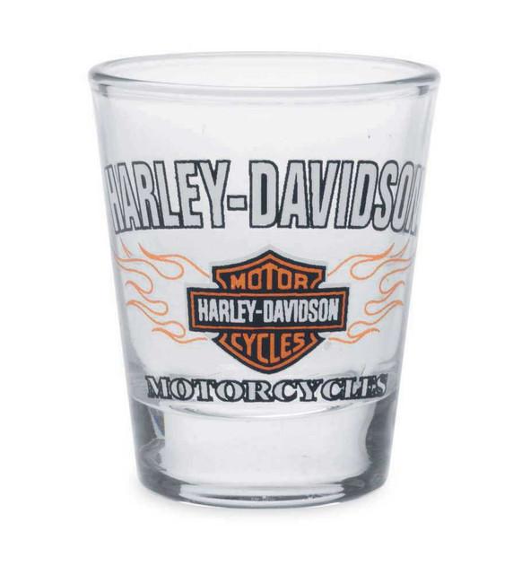 Harley-Davidson Flames Bar & Shield Logo Shot Glass 1.5 oz, Glassware 99214-14V - Wisconsin Harley-Davidson