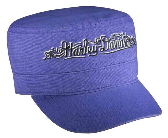 Harley-Davidson Women's Flat Top Cap, Embroidered H-D Script, Purple 97784-16VW - Wisconsin Harley-Davidson