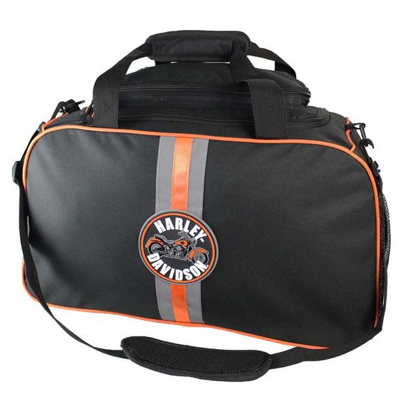 Harley-Davidson Deluxe Duffel Bag, Harley Emblem Reflective Stripe Black 7180651 - Wisconsin Harley-Davidson
