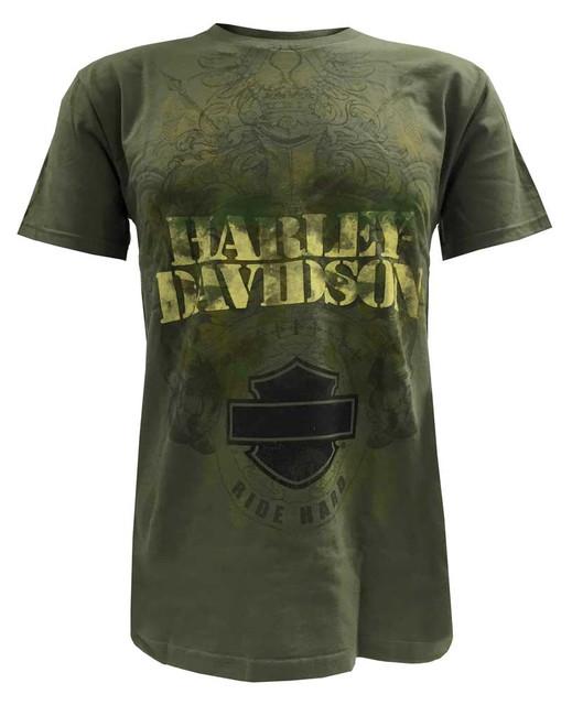 Harley-Davidson Men's T-Shirt, Bar & Shield Ride Hard Fatigue Camo Tee, Green - Wisconsin Harley-Davidson