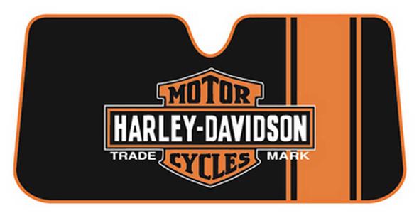 Harley-Davidson Bar & Shield Accordion Style Car Sun Shade, Black/Orange 3731 - Wisconsin Harley-Davidson