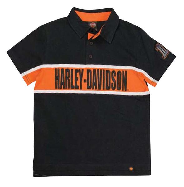 Harley-Davidson Little Boys' Embroidered H-D Polo Striped Shirt, Black 1070561 - Wisconsin Harley-Davidson