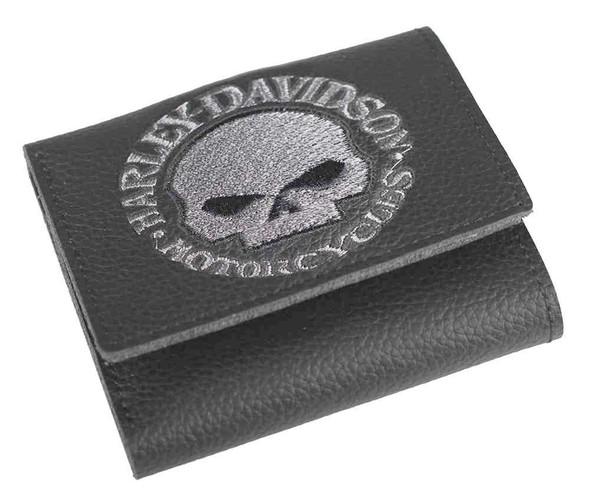 Harley-Davidson Men's Embroidered Willie G Skull Tri-Fold Wallet, XML6145-GRYBLK - Wisconsin Harley-Davidson