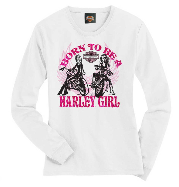 Harley-Davidson Little Girls' Tee, Long Sleeve Harley Girl Shirt, White 1530583 - Wisconsin Harley-Davidson
