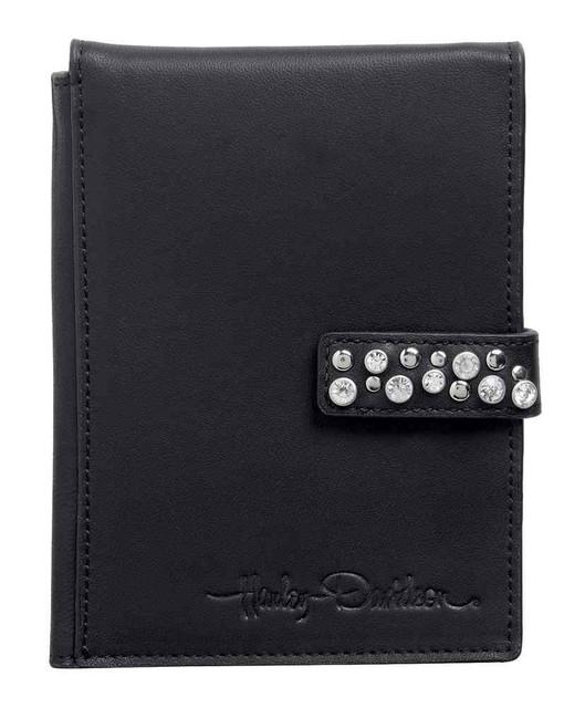 Harley-Davidson Womens Passport Wallet, H-D Embellished Leather Black 99517-15VW - Wisconsin Harley-Davidson