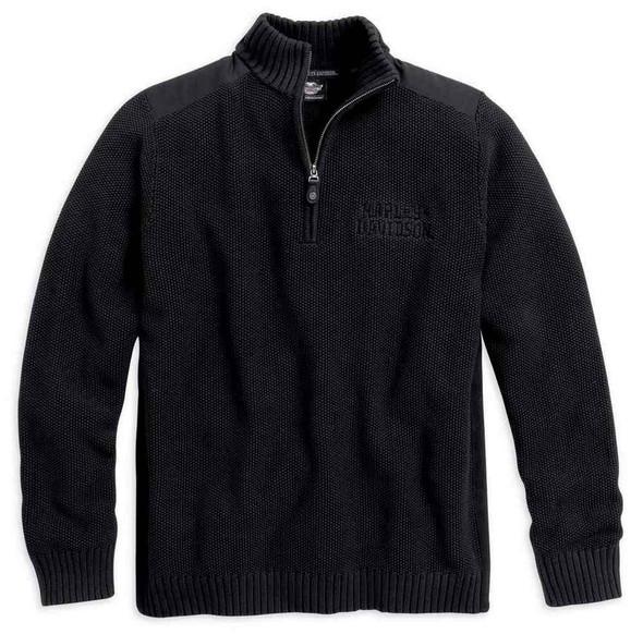 Harley-Davidson Men's Heavyweight Knit Acid Wash Sweater, Black. 96048-16VM - Wisconsin Harley-Davidson