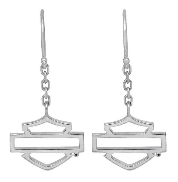 Harley-Davidson Womens Earrings, Silhouette Bar & Shield Dangles, Silver HDE0342 - Wisconsin Harley-Davidson