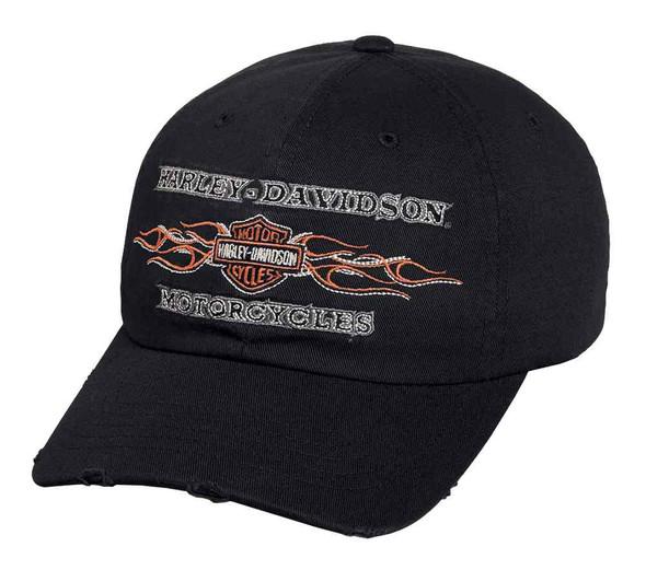 Harley-Davidson Men's Embroidered B&S Flames Baseball Cap, Black 99439-16VM - Wisconsin Harley-Davidson