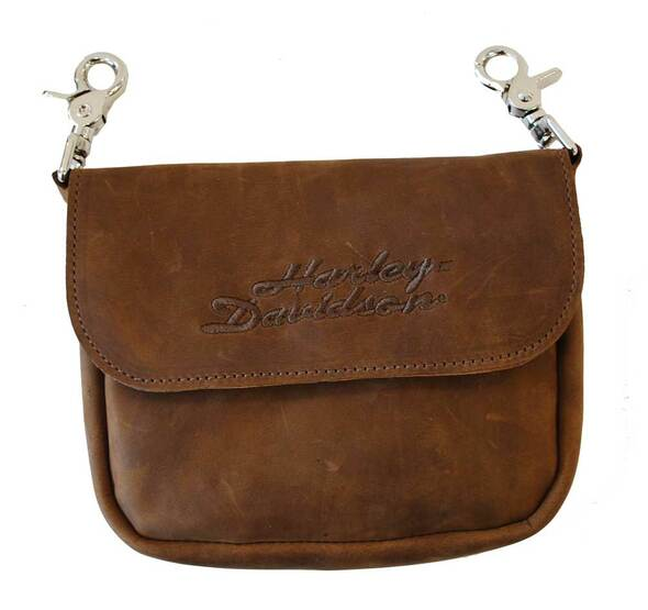 Harley-Davidson Embroidered H-D Clip Hip Bag Brown Suede Leather CH55 - Wisconsin Harley-Davidson