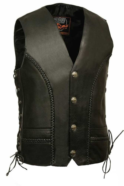 Milwaukee Leather Men's Braided Side Lace Vest w/ Buffalo Snaps ML1359 - Wisconsin Harley-Davidson