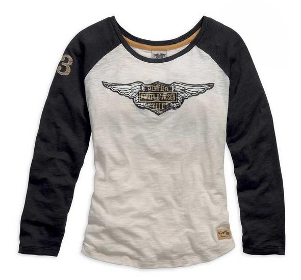 Harley-Davidson Women's Genuine Long Sleeve Knit Tee, Black/Cream. 99126-15VW - Wisconsin Harley-Davidson