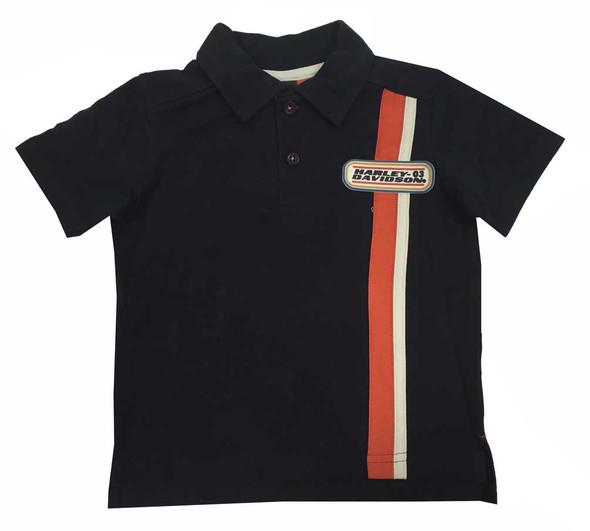 Harley-Davidson Little Boys' Polo Vertical Stripe Shirt, Orange/Black 1071531 - Wisconsin Harley-Davidson