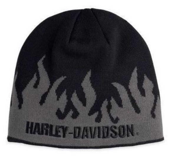 Harley-Davidson Men's Flames Knit Hat Gray & Black 99473-10VM - Wisconsin Harley-Davidson