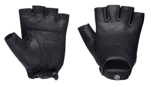 Harley-Davidson Women's Black Label Perforated Snap Leather Gloves 98225-16VW - Wisconsin Harley-Davidson