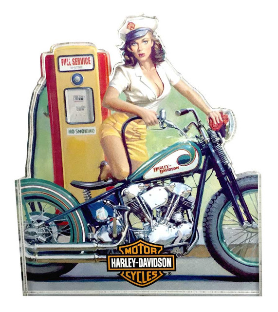 Harley-Davidson Full Service Pin Up Lady Magnet, 4 x 3.5 inches 8003852 - Wisconsin Harley-Davidson