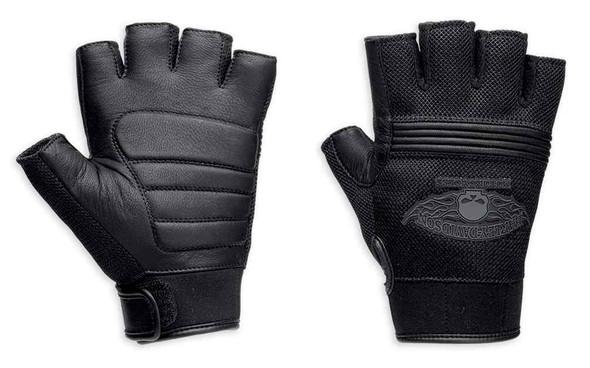 Harley-Davidson Men's Winged Skull Fingerless Gloves 98277-14VM - Wisconsin Harley-Davidson