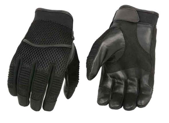 Milwaukee Leather Men's Mesh Back Full-Finger Racing Gloves, Black SH791 - Wisconsin Harley-Davidson