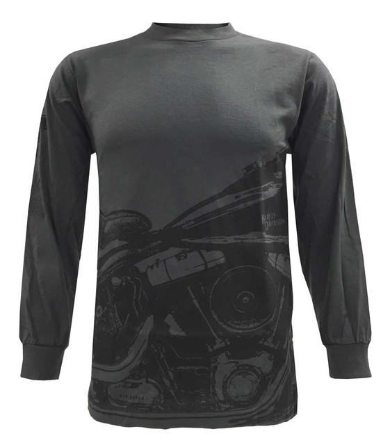 Harley-Davidson Men's Long Sleeve Shirt, Retro Springer Motorcycle, Charcoal - Wisconsin Harley-Davidson