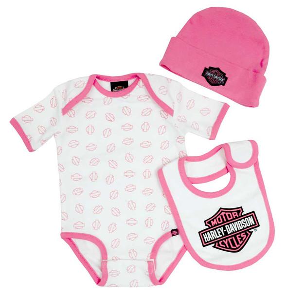 Harley-Davidson Baby Girl's Creeper Gift Box Set, Bar & Shield Logos 3000401 - Wisconsin Harley-Davidson