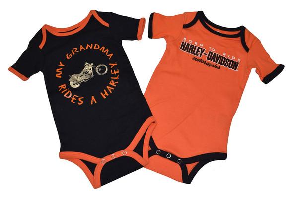 Harley-Davidson Baby Boys' Creeper Set, Infant Grandma Rides a Harley 3059501 - Wisconsin Harley-Davidson