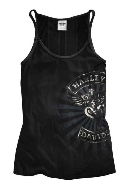 Harley-Davidson Women's Tank Top, Metallic Graphic Tank, Black 96382-15VW - Wisconsin Harley-Davidson