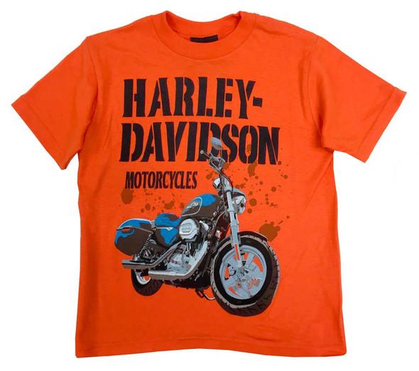 Harley-Davidson Little Boys' Tee, Short Sleeve Blue Thunder, Orange 0484236 - Wisconsin Harley-Davidson