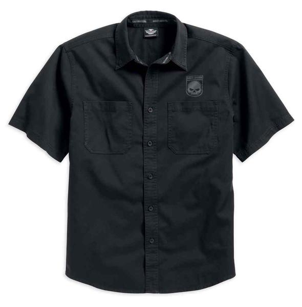 Harley-Davidson Men's Skull Shield Shirt Short Sleeve, Black. 99009-16VM - Wisconsin Harley-Davidson