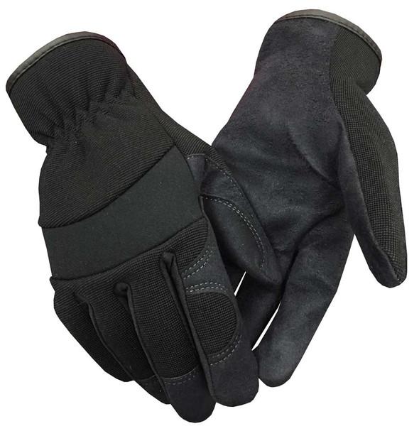 Northstar Fur Unisex Unlined Suede Palm Lightweight Work Gloves, Black. 58BK - Wisconsin Harley-Davidson