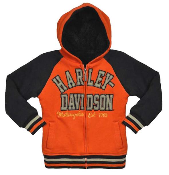 Harley-Davidson Big Girls' Hooded Sweatshirt, Zip Sherpa Fleece Hoodie 3341492 - Wisconsin Harley-Davidson