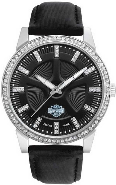 Harley-Davidson Women's Bulova Crystal Dress Wrist Watch 76L158 - Wisconsin Harley-Davidson