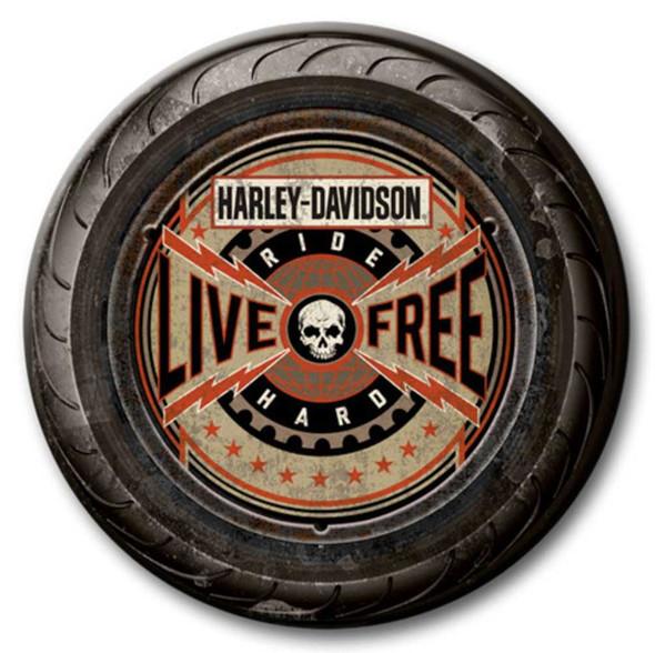 Harley-Davidson 23 in Round 2 Piece Tire Live Free Wooden Sign CU118A-AD-LF-HARL - Wisconsin Harley-Davidson